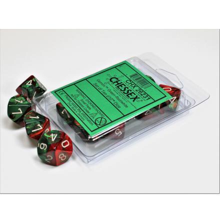 Gemini Green-Red w/white Set of Ten d10´s