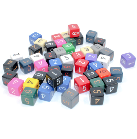 Bag of 50 Asst. Loose Opaque Polyhedral d6 Dice