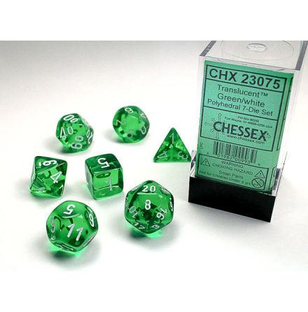 Translucent Polyhedral Green/white 7-Die Set