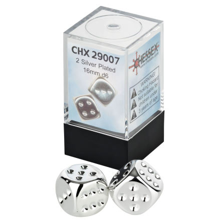 Silverplated Metallic 16mm d6 Pair